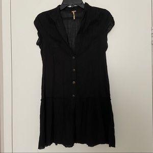 Free People Sleeveless Button Down Blouse Black XS
